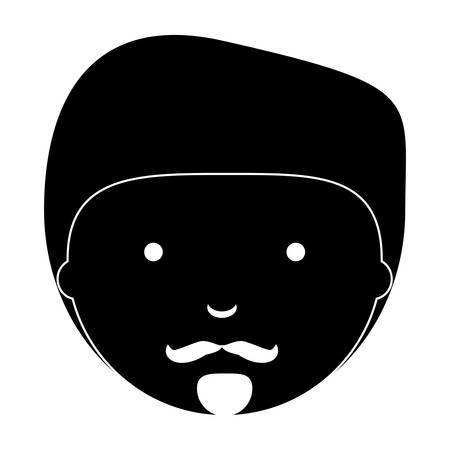 cartoon man with mustache over white background, vector illustration