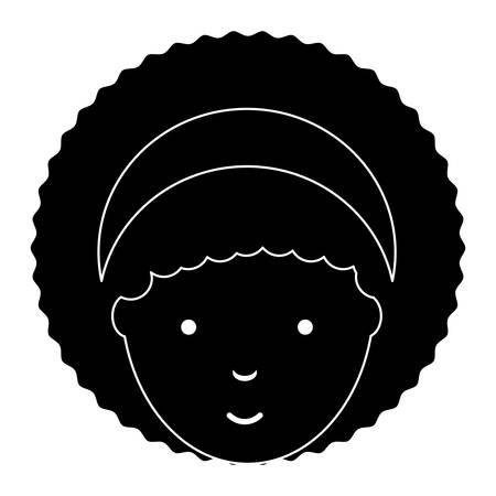 cartoon woman with afro hairstyle icon over white background, vector illustration Illustration
