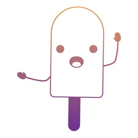 kawaii surprised ice cream bar over white background, colorful design. vector illustration