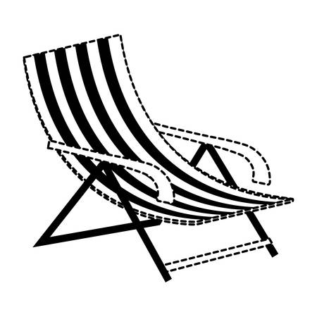 beach chair icon over white background, vector illustration