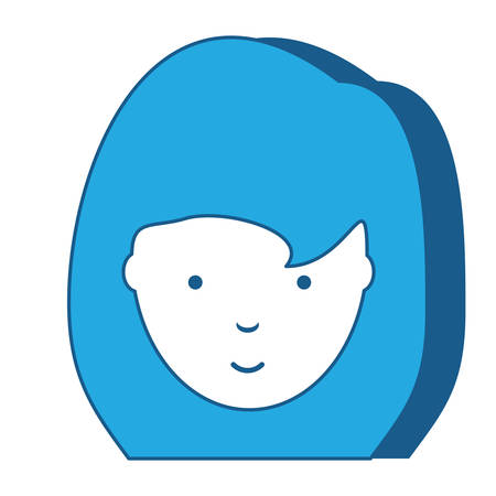 cartoon woman with long hair icon over white background, blue shading design. vector illustration  イラスト・ベクター素材