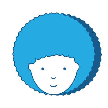 cartoon woman with afro hairstyle icon over white background, blue shading design. vector illustration Illustration