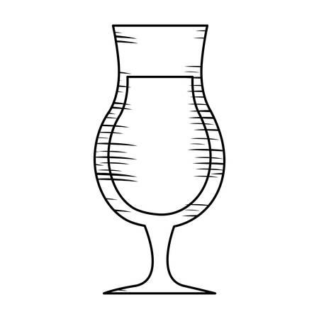 schizzo dell'icona della bevanda del cocktail sopra fondo bianco, illlustration di vettore Vettoriali