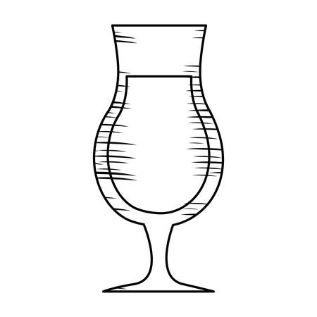 sketch of cocktail drink icon over white background, vector illlustration Illustration