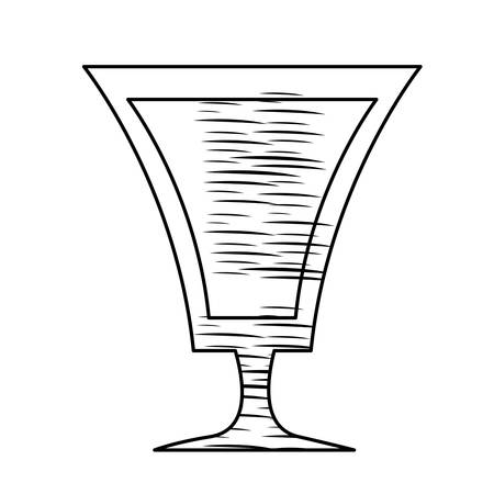 sketch of cocktail glass icon over white background, vector illlustration