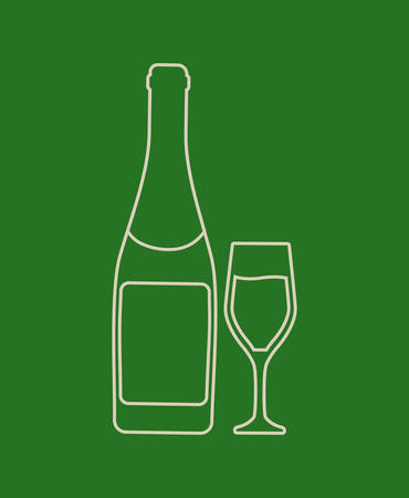champagne glass and bottle icon over green background, colorful line design. vector illustration Illustration
