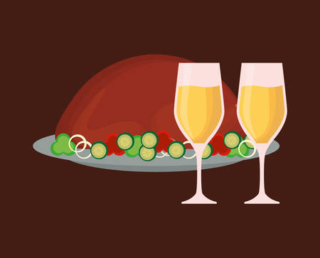 roasted turkey and champagne glasses over background, colorful design vector illustration