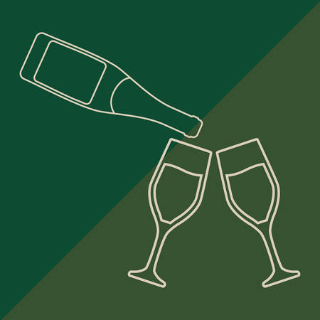 champagne bottle and glasses over green background, colorful line design vector illustration