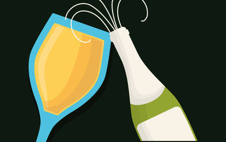 bottle and champagane glass over black background, colorful design vector illustration