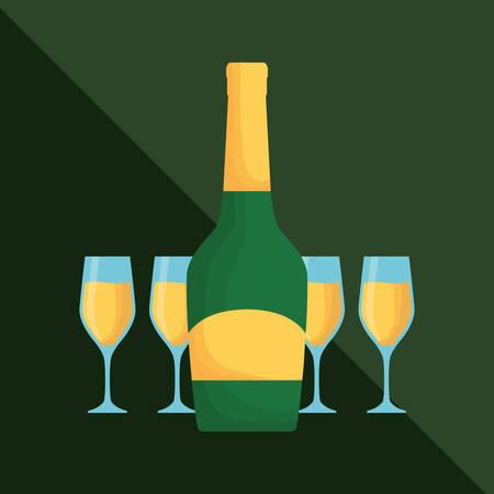 champagne bottle and glasses over green background, colorful design vector illustration