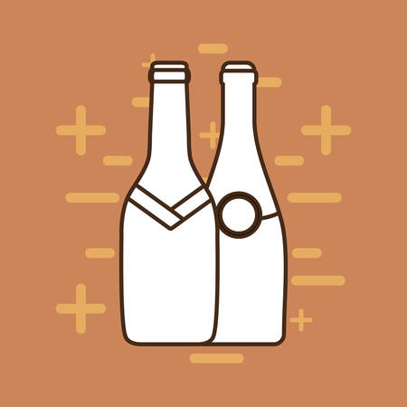 champagne bottles over brown background, line design. vector illustration