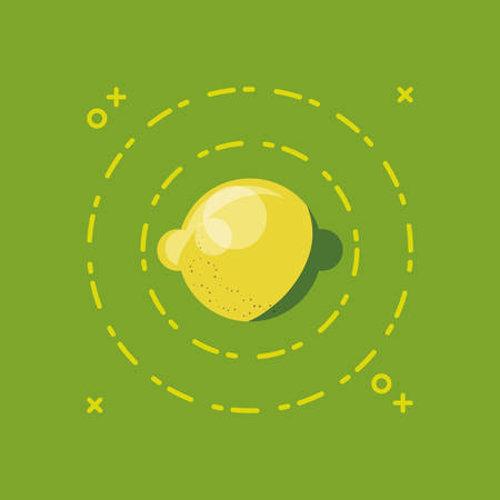 citric fruits design with lemon and decorative circular frame over green background, colorful desgin. vector illustration