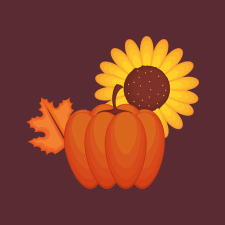 Thanksgiving design with sunflower and autumn leaf over brown background, colorful design. vector illustration