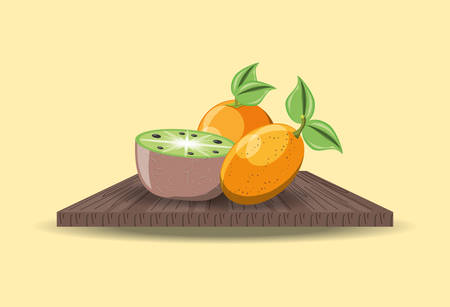 wooden board with kiwi and tree tomato over yellow backgrund, colorful design. vector illustration
