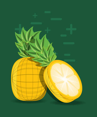 pineapple over green background, colorful design, vector illustration