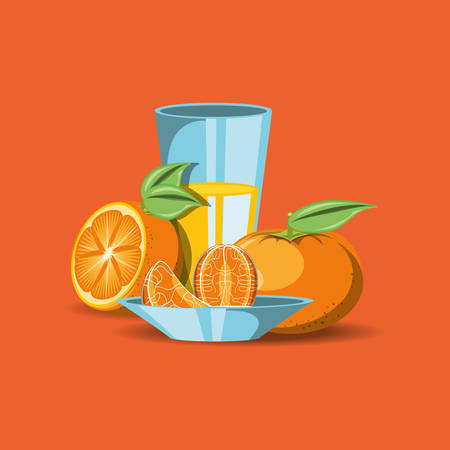 citric fruits design with tangerines and juice glass icon over orange background, colorful design. vector illustration