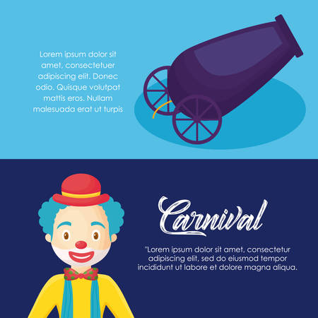 Infographic of carnival circus concept with cartoon clown and cannon icon over colorful background, vector illustration