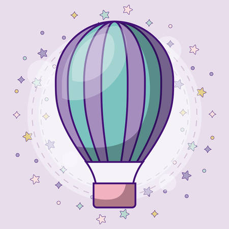 cute hot air balloon icon with colorful stars around over purple background, vector illustration Illustration