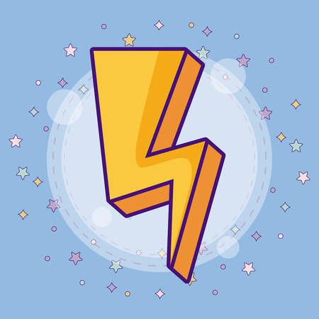cute lightning bolt with colorful stars around over blue background, vector illustration Illustration