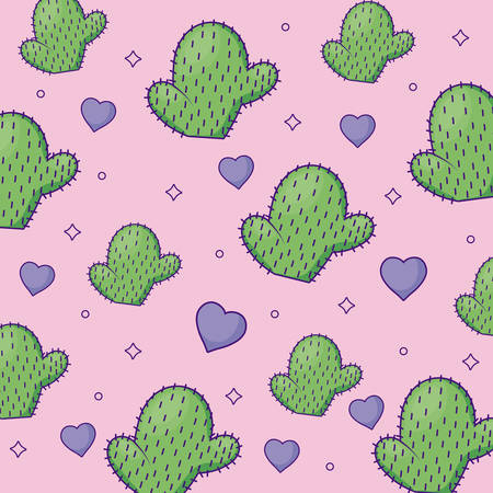 cute cactus and hearts background, colorful design. vector illustration