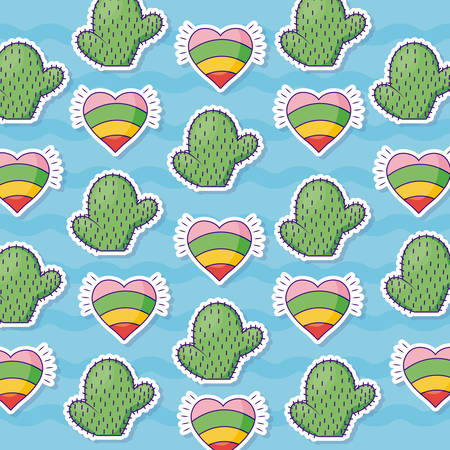 cactus and hearts background, colorful and cute design. vector illustration Иллюстрация