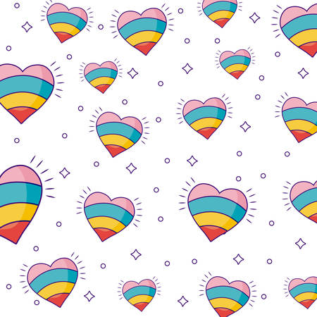 colorful hearts background, vector illustration icon cute