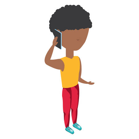 avatar man standing and talking on cellphone over white background, colorful design. vector illustration