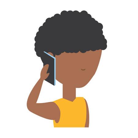 avatar man talking on cellphone over white background, colorful design.  vector illustration