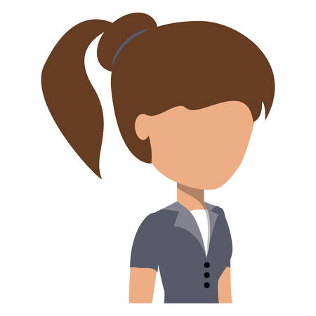 avatar woman with pony tail over white background, colorful design. vector illustration Standard-Bild - 98087345