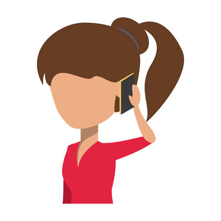 avatar Woman Talking on Cellphone over white background, colorful design. vector illustration