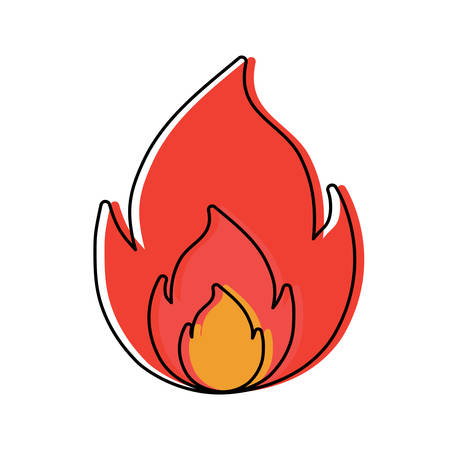 fire flame icon over white background, colorful design. vector illustration