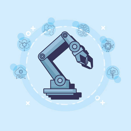 Artificial intelligence design with robotic arm and related icons around over white circle and blue background, colorful design vector illustration