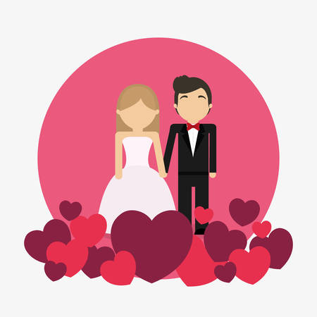 avatar wedding couple over pink circle and white background, colorful design. vector illustration