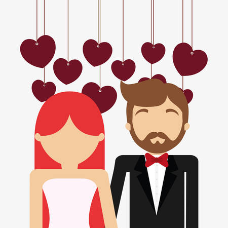 avatar wedding couple and decorative hearts hanging over white background, colorful design. vector illustration Illustration