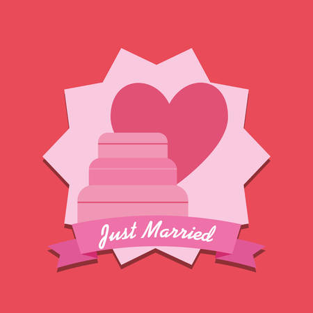 Wedding cake and heart over decorative frame and red background, colorful design vector illustration