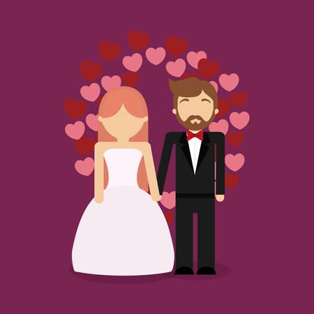 Wedding couple and decorative hearts around  over purple background, colorfu design vector illustration