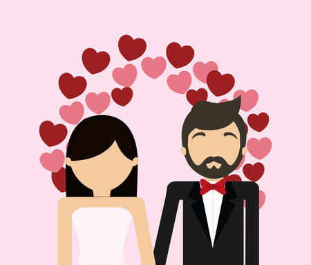 Wedding couple and decorative wreath of hearts  over pink background, colorfu design vector illustration