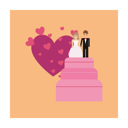 Wedding cake with just married couple topper over orange background, colorful design vector illustration Illustration