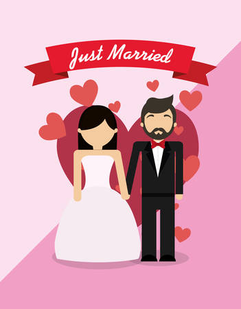 Just married couple standing  over pink background, colorful design vector illustration