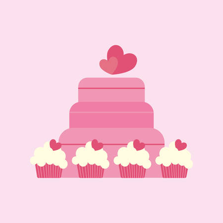 Wedding cake and cupcakes over pink background, colorful design vector illustration