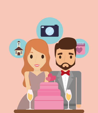 just married couple with wedding cake and related icons around over orange background, colorful design vector illustration Vectores