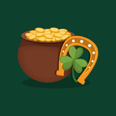 pot of gold with horseshoe and clover over green background, colorful design. vector illustration