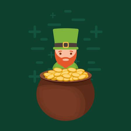 Irish leprechaun and pot of gold over green background, colorful design. vector illustration Illustration
