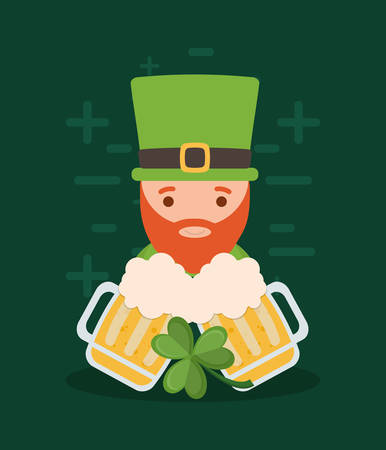 Irish leprechaun and beer jars over green background, colorful design. vector illustration