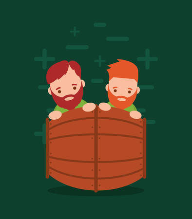 wooden barrel with Irish leprechauns and  green background, colorful design. vector illustration