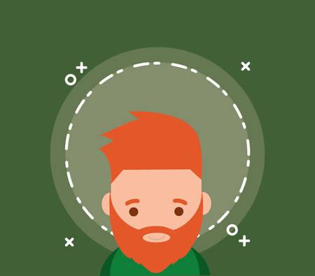 cartoon Irish leprechaun over green background, colorful design. vector illustration