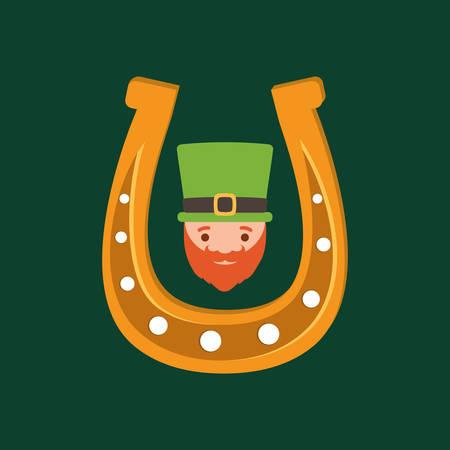 horseshoe and irish leprechaun over green background, colorful design. vector illustration