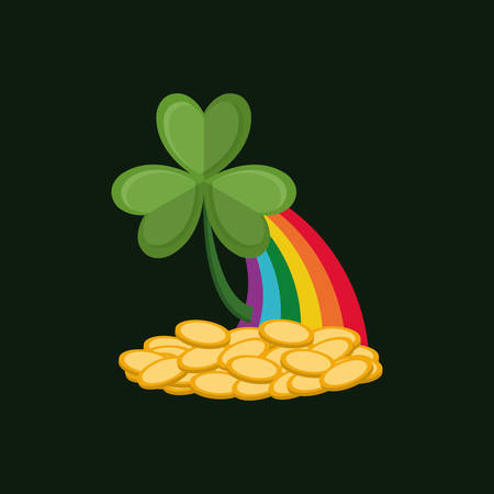 clover with rainbow and golden coins over black background, colorful design. vector illustration Illustration
