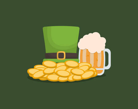 irish top hat with beer jar and coins over green background, colorful design. vector illustration Illustration