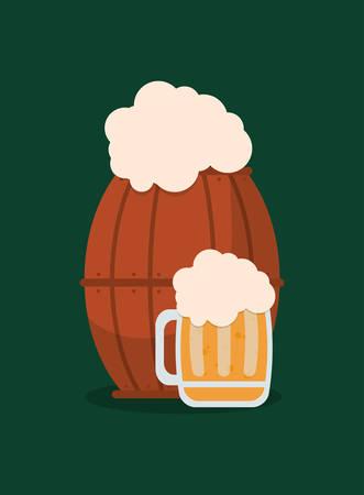 beer jar and wooden barrel over green background, colorful design. vector illustration Illustration
